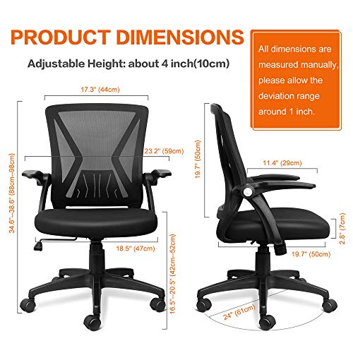 Product Image 2: QOROOS Mid Back Mesh Office Chair Ergonomic Swivel Black Mesh Desk Chair Flip Up Arms with Lumbar Support Computer Chair Adjustable Height Task Chairs