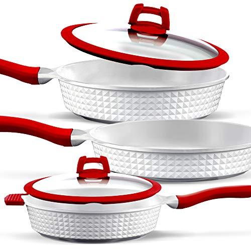 GRIDINLUX. Set di Pentole 5 Pezzi. Alluminio fuso, Titanio, Ceramica, Pentole e coperchi, Materiale di qualit superiore, Resistente, Adatto a tutti i tipi di cucine.