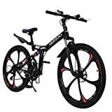 26 inch Adults Folding Bikes High-Carbon Steel Mountain Bike Outdoor Adventures Wasteland Exercise Road Bikes with 21 Speed Dual Disc Brakes Full Suspension Non-Slip
