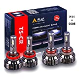 Alla Lighting H11 and 9005 LED Bulbs Combo HB3 9005 High Beam H11 Low Beam Replacement Xtreme Super Bright Conversion Kits, 6000K Xenon White