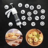 Cookie Press-Cookie Gun Press Biscuit Maker with 6 icing tips and 12 Decorative Discs, Biscuit Cookie, Cake and Baking