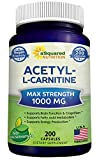 Pure Acetyl L-Carnitine 1000mg Max Strength - 200 Veggie Capsules - High Potency Acetyl L Carnitine HCL (ALCAR) Supplement Pills to Support Energy, Brain Function & Fatty Acid Metabolism