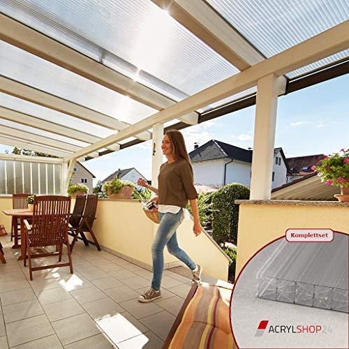 ACRYLSHOP24 Terrassendach Terrassenüberdachung Carport Komplettset Polycarbonat 16mm X-Struktur Stegplatten farblos 16mm Stegplatten Tiefe:4000mm|Breite:4100mm - Mehrere Maße verfügbar