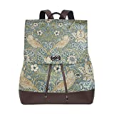 Yuanmeiju Mochila de Cuero Rucksack Art Pattern Colorful Flower Bird Daypack Bags for Girls Boys