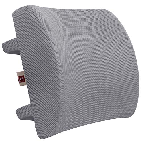 LOVEHOME Memory Foam Lumbar Support Back Cushion with 3D Mesh Cover Balanced Firmness for Lower Back Pain Relief - Ideal Back Support for Office Chair and Car- Gray