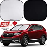 Shinematix 2-Piece Windshield Sun Shade - Foldable Car Front Window Sunshades For Most Sedans SUV Truck - Best 210T Reflective Material Blocks 99% UV Rays and Keeps Your Vehicle Cool (Standard/Medium)