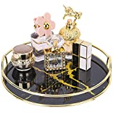 "Zosenley Makeup Organizer, Decorative Glass Vanity Tray for Perfume, Jewelry and Decor, Round Cosmetic Storage for Dresser, Bathroom Counter, Ottoman and Coffee Table, Size 11.1""D x 2""H"
