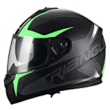 Triangle Full Face Dual Visor Matte Black Street Bike Motorcycle Helmet (Large, Matte Green)