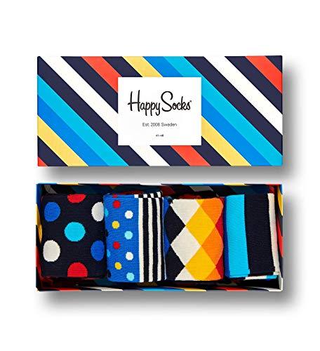 Happy Socks, calzini colorati in cotone, confezione regalo, 4 paia di calzini per uomini e donne Scatola regalo Big Dot Medium