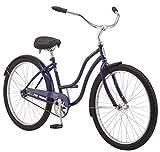 Schwinn Mikko Adult Beach Cruiser Bike, Featuring 17-Inch/Medium Steel Step-Over Frames, 1-Speed Drivetrains, Navy