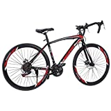 Outroad Mountain Bike, 21 Speed 26 in 3 Spoke, Full Suspension MTB Bikes, Carbon Steel Bicycle, Double Disc Brake Bicycle, Anti-Slip Bicycles for Adult Teen (from US. Black, 59x9.8X (23-27.5) inches)