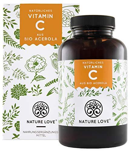 Natürliches Vitamin C in Bio Qualität - Vergleichssieger 2019* - 180 Kapseln - Aus Bio Acerola Extrakt - Hoch bioverfügbar, laborgeprüft, vegan und hergestellt in Deutschland
