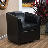 Christopher Knight Home Corley | Leather Swivel Club Chair | in Black