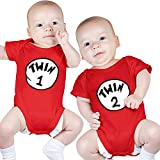 Nursery Decals and More Boys Bodysuits for Twins, Includes 2 Bodysuits, 6-12 Month Twin 1 Twin 2