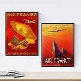 Nacnic cru Affiches. Les Affiches publicitaires dans Le Monde. Deux Feuilles Vintage Air France. Format A3