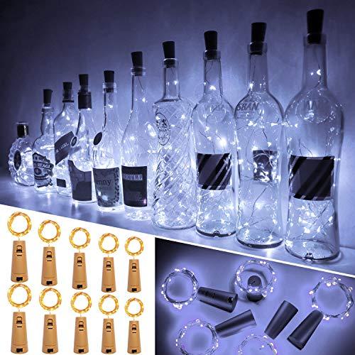 Ariceleo Luci Bottiglia, 10 Pezzi 20 LED 2 Metro a Batteria Rame Filo Set Vino Bottiglia Tappo Stringa Luci con Sughero Catena per Natale Matrimonio Halloween Giardino Feste Lucine(Bianco Freddo)