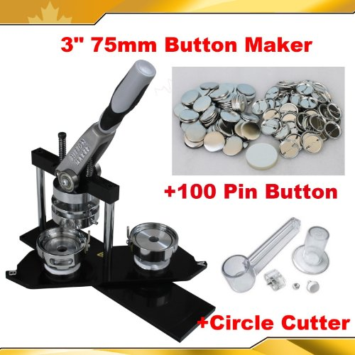 "All metal 3"" 75mm Badge Button Maker Machine+Circle Cutter+100 Pin Badge"