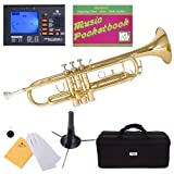 Mendini MTT-L Gold Lacquer Brass Bb Trumpet + Tuner, Case, Stand, Mouthpiece, Pocketbook & More - MTT-L+SD+PB+92D