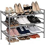 Seville Classics 3-Tier Stackable 12-Pair Multi-Position Shoe Rack Adjustable Metal Freestanding Storage Shelf for Bedroom, Closet, Entryway, Dorm Room, Satin Pewter Mesh