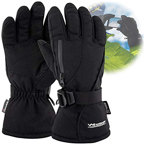 WindRider Rugged Waterproof Winter Gloves | Touchscreen Compatible | Cordura Shell, Thinsulate Insulation | Ice Fishing, Skiing, Sledding, Snowboard | for Women or Men, Large
