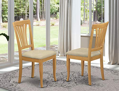 East West Furniture AVC-OAK-C Avon Upholstered Dining Chairs Linen Fabric Seat and Oak Hardwood Frame Modern Dining Chair Set of 2