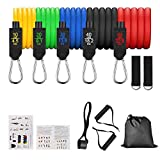 ONMIER Resistance Bands Set (11pcs),5 Piece Exercise Bands Portable Home Gym Accessories, Stackable Up to 150 lbs, for Resistance Training, Physical Therapy, Home Workouts (11 Pcs)