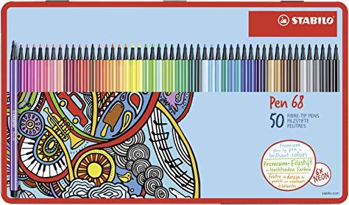 Pennarello Premium - STABILO Pen 68 - 46 Colori assortiti - Scatola in metallo da 50 - Hartung Design