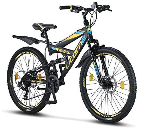 Licorne Bike Strong D (Schwarz/Blau/Lime) 26 Zoll Mountainbike Fully, MTB, geignet ab 150 cm, Scheibenbremse vorne und hinten, Shimano 21 Gang-Schaltung, Vollfederung, Jungen-Herren Fahrrad
