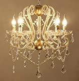 SUN-E American Vintage Chandeliers Golden Metal Frame with Glass Beads & Maple Leaf Shape K9 Crystals Pendant Ceiling Fixture Lamp for Home Decor Kitchen Living RoomsW22' H26'
