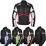 Motorcycle Jacket For Men Textile Motorbike Dualsport Enduro Motocross Racing Biker Riding CE Armored Waterproof All-Weather (Red, 2XL)