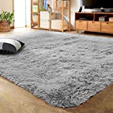LOCHAS Ultra Soft Indoor Modern Area Rugs Fluffy Living Room Carpets for Children Bedroom Home Decor Nursery Rug 4x5.3 Feet, Gray