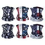 American US Flag Face Bandana, Sun UV Dust Protection Reusable Washable Half Mask Scarf, Cooling Cloth Neck Gaiter Motorcycle Running Hiking Cycling Balaclava Headwear for Men Women-E