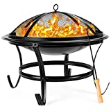 Best Choice Products 22-inch Outdoor Patio Steel Fire Pit Bowl BBQ Grill for Backyard, Camping,...