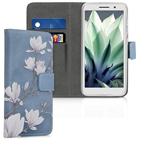 kwmobile Custodia compatibile con Alcatel 1 (5.0') - Cover magnetica portafoglio con stand in simil pelle - Case porta carte - Magnolie marrone grigio/bianco/grigio blu