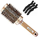 VPAL Round Brush for Blow Drying with 3Pcs Hair Clips, Natural Boar Bristle, Nano Thermal Ceramic & Ionic Hair Round Barrel Brush for Blowout, Curling & Straightening, 2 inch