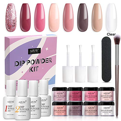 17 Pcs Dip Powder Nail Kit Starter, AZUREBEAUTY Nude Pink Glitter 8 Colors Acrylic Dipping Powder System Essential Kit for French Nail Manicure Nail Art Set