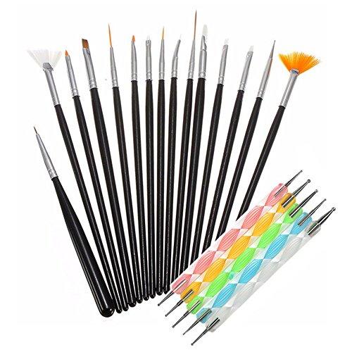 Nail Art Brushes Nail 15 pcs Dotting Pen Set 5 pcs Diamond Application Rhinestone Handle Beetles Gel Painting Nail Art Designe Brush Pen kit Manicure Tools (Black)