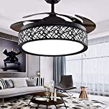 42' Black Bird-Cage Ceiling Fan Chandelier Retractable Blade Ceiling Fan with Lights and Remote Modern LED Fandelier Ceiling Fan for Bedroom Living Room,3 Lighting Color Setting 3 Fan Speed Quiet