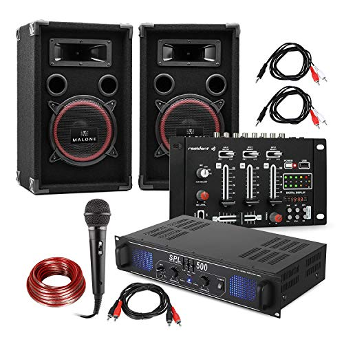 Electronic-Star Set DJ e PA DJ-14 USB - Amplificatore PA , Console di Mixaggio USB , Coppia di Altoparlanti , Microfono Karaoke , Set di Cavi di Connessione