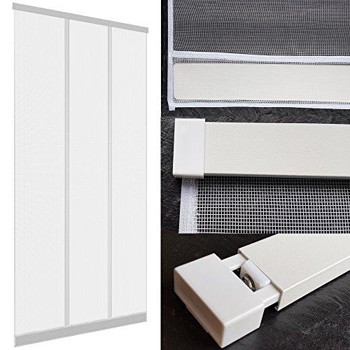 DILUMA Insektenschutz Tür Vorhang 100 x 220 cm in Weiß - mit ALU Klemmleiste ohne Bohren & Schrauben - mit hochwertigen Fiberglas Lamellen & eingenähten Gewichten