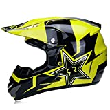 Genmaigou Off-Road Motorcycle Helmet,Big Five-Pointed Star Locomotive Bicycle Scooter Downhill Full Face Helmet,Suitable for Teenagers Boys and Girls,DOT/ECE Standards,Yellow,L
