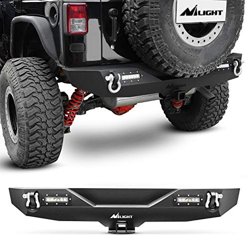 Nilight Rear Bumper Compatible for 2007-2018 Jeep Wrangler JK,Rock Crawler Bumper with Hitch Receiver & 2X Nilight Upgraded 40W LED Lights Off Road Textured Black,2 years Warranty