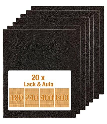 kwb Schleifpapier-Set – 20 Stk. 230 mm x 280 mm, Sandpapier für Lack und Auto, Siliziumcarbid bestreut, wasserfest