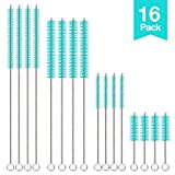 Hiware 16-Pack Straw Cleaning Brush Set, Multiple Size Straw Cleaner for All Sized Straws Include Standard Straws, Long Straws, Wide Straws, Baby Bottle Straws, Tumbler Straws and Pipes