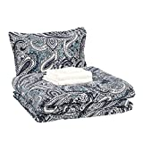AmazonBasics 6-Piece Comforter Bedding Set, Twin / Twin XL, Blue Paisley, Microfiber, Ultra-Soft