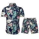 Chemise à Manches Courtes de Deux Pièces Ensemble pour Homme Casual Imprimé Floral Hawaiienne Plage Confortable d'été
