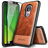 Moto G7 Power Case, Moto G7 Supra/Moto G7 Optimo Maxx (XT1955DL) with Tempered Glass Screen Protector (Full Coverage), NageBee Premium Cowhide Leather Shockproof Dual Layer Rugged Durable Case -Brown