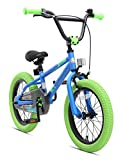 BIKESTAR Safety Sport Kids Bike Bicycle for Kids Age 4-5 Year Old Children | 16 Inch BMX Edition for Boys and Girls | Blue & Green