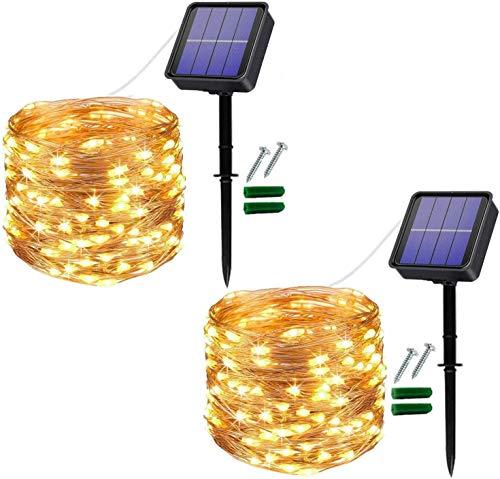 [2 Stücke] Usboo® Solar Lichterkette, 150 warmweiße LEDs 15 Meter für Außen & Innen mit wasserdichten Kupferdrähten für Dekorationen, Feste, Garten, Balkons, Partys, Hochzeiten, Camping, DIY usw.