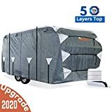 KING BIRD Upgraded Travel Trailer RV Cover, Extra-Thick 5 Layers Anti-UV Top Panel, Deluxe Camper Cover, Fits 24-27ft RV Cover -Breathable, Water-Proof, Rip-Stop with 2Pcs Straps & 4 Tire Covers